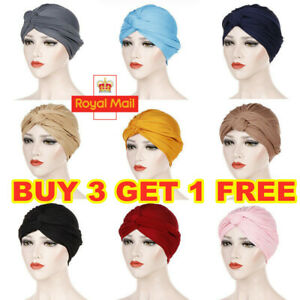 Women Turban Chemo Hair Head Hijab Cap Muslim Wrap Hat Scarf Headwear Bandana UK