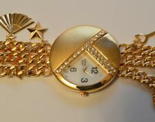 Unique Futura Gold Tone Rhinestones Ladies Watch w/ Gold Tone Charmes Bracelet