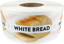 White Bread Grocery Market Food Stickers, 1.25 x 2 Inches, 500 Labels on a Roll