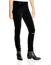 $185 PAIGE 30 Margot Ultra Skinny Destructed Midnight Black Velvet Cords Jeans