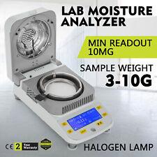 Lab Moisture Analyzer Meter W/ Halogen Heating for Grain Wood Mineral 0.01g 50g