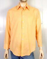 vtg 60s Sears Perma Prest Peach Fine Atomic Dress Shirt Big Collar Disco L 16 34