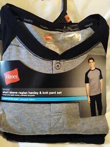 Hanes Men Short Slev Raglan Henley Top & Knit Pant Set Size S. Grey/Black