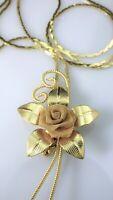 Vintage Mesh Rose Bolo Slide Pendant Necklace Gold Tone Lariat Serpentine Chain