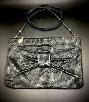 Vtg Whiting and Davis Black Mesh Crossbody Purse/Clutch w/Bow & Removable Strap