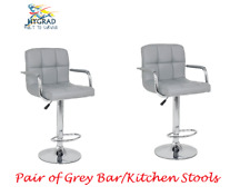 2 x Grey PU Leather Breakfast Lounge Bar Kitchen Pub Swivel Chairs Stools Seats