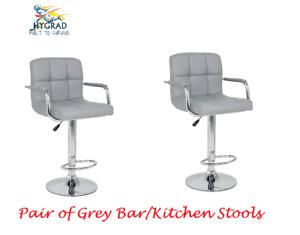 2 x Grey PU Leather Breakfast Lounge Bar Kitchen Pub Swivel Chairs Stools Seats