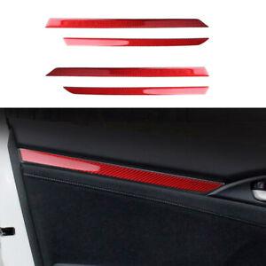 4Pcs Carbon Fiber Interior Door Sticker Trim Fit For Honda Civic 10th 2016-2019