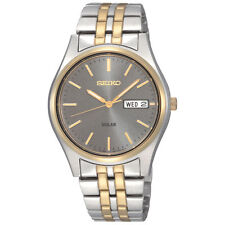 Mens Seiko Solar Gold Silver Stainless Steel Gray Dial Watch Day Date SNE042