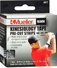 "Mueller Kinesiology Sport Tape BLACK PRECUT ( 2"" x 9.75 "") 20 pieces ***"