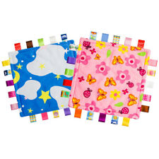 Baby Security Tag Blanket Colorful Warm Soothing Towel Child Soft Blanket 2 Pcs