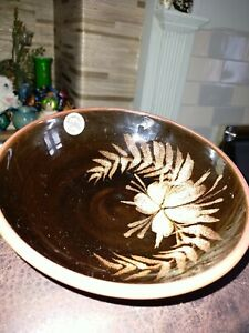 VINTAGE TENBY STUDIO POTTERY SMALL DISH BROWN WITH FLORAL DESIGN HAND MADE