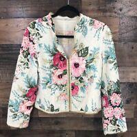 J.Jill Women's Cream Floral Eyelet Jacket Size S