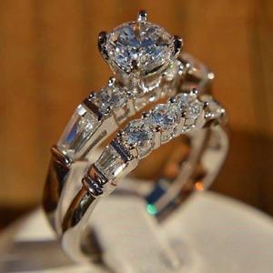 2.8ct Round Cut Diamond Engagement Ring 14k White Gold Finish Antique Bridal Set