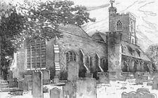 LONDON. West Ham Church 1888 old antique vintage print picture