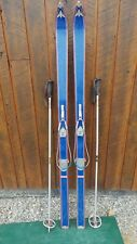 """VINTAGE Wooden  Skis 69"""" Long with BLUE Finish Cable Bindings and Metal Poles"""