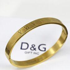 """Gold,Roman-Numeral,Bangle Bracelet Unisex Box Dg Women's Stainless Steel 6.5"""""""