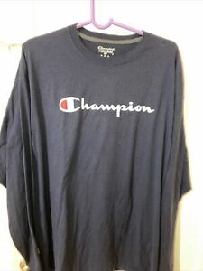 Champion Men's 100% Cotton Tagless Long Sleeve T-Shirt 2XL Navy Blue