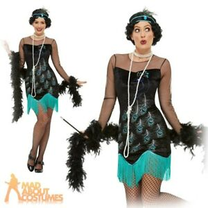Ladies 1920s Peacock Flapper Costume Womens Charleston Adults Fancy Dress Outfit