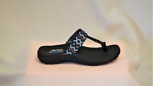 Skechers 40979 Reggae Up Bead Black Multi thong sandal Size 11
