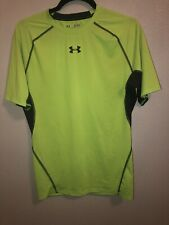 Under Armour Mens XL HeatGear SS Vented Compression Shirt Neon Yellow Green NEW