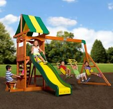 Backyard Swing Set Weston Cedar Wooden Slide Outdoor Playground Playset Kids