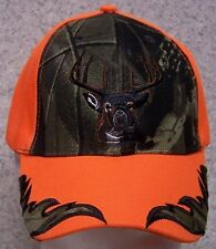 Embroidered Baseball Cap Hunting Deer Head NEW Cammie & Orange 1 size fits all