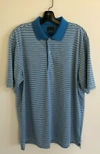 GREG NORMAN Men's Play Dry ML75 White/Blue Striped Short Sleeve Golf Polo-Size L