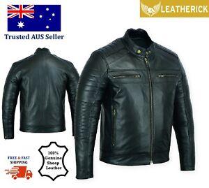 Mens Fashion Real Sheepskin Biker Leather Jacket Motorcycle Retro Style Black