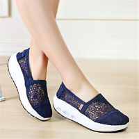Women Summer Lace Breathable Platform Loafers Rocker Sole Shake Slip On Shoes