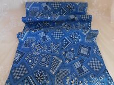 Vintage/Antique 34W Fabric 100% Cotton Blue Bandana Quilt Crafts Apparel BTY
