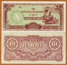 WW2 Japan Occupied Burma 1942-44 10 Rupee Bank Note- UNC Cond.17-173