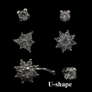 Blossom Flower U-Shape Horseshoe Ring Ear Cartilage Tragus Piercing Earrings 18g