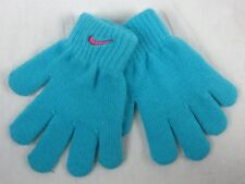 New Nike Girls Cable Glove Size 4/6X Gamma Light Blue With Pink Swoosh