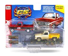AUTO WORLD 1:64 *CS CUSTOMS* 1975 Chevy Silverado w/Trailer & 1974 Project Truck