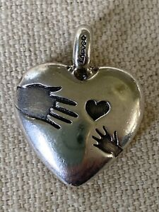 Sterling Silver LOVE Pendant Lagos SOLID Heart Adult Child Hands 12.2 g (21-22)