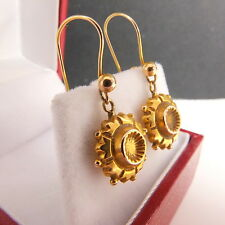 Lovely Victorian Etruscan Style 9ct Gold Drop Pierced Earrings & Safety Wires