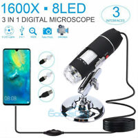 1600X 8LED 2MP USB Digital Microscope Endoscope Zoom Camera Magnifier With Stand
