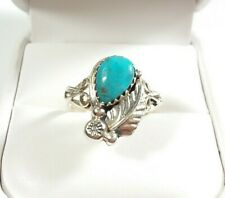 NAVAJO SIGNED B STERLING ETCHED FEATHER DESIGN KINGMAN TURQUOISE SIZE 7 RING