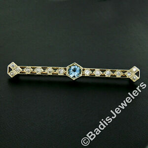 Antique Edwardian 14k Gold 2.28ctw Round Aquamarine European Diamond Bar Brooch