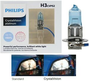 Philips Crystal Vision Platinum H3 55W Two Bulbs Fog Light Replacement Stock Fit