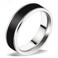 Black Titanium Band Stainless Steel Ring JewelryFor Men Women Size16-22 OZ
