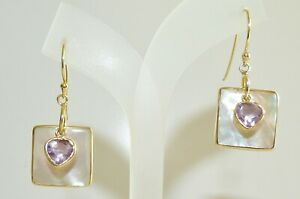 GENUINE 1.16cts Brazilian Amethyst & MOP Earrings Solid Sterling Silver 925