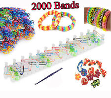 2000 ARC-EN-CIEL MULTICOLORE CAOUTCHOUC LOOM bands bracelet making kit colore avec attaches s