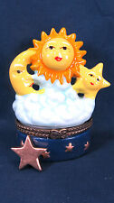 the sun and the moon and the star in the clouds ceramic trinket box astrological