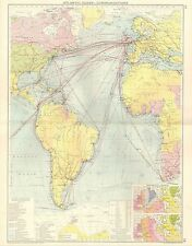 1928 Map ~ Atlantic Ocean Communications Principal Steamships Lines Isochronic