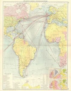 1928 MAP ~ ATLANTIC OCEAN COMMUNICATIONS PRINCIPAL STEAMSHIPS LINES ISOCHRONIC