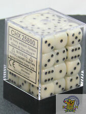 Chessex Opaque 12mm (small) dice set Ivory with black pips 36 pieces die set