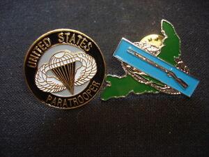 US PARATROOPER + us COMBAT INFANTRYMAN, Set Of 2 Nam War Lapel Pins