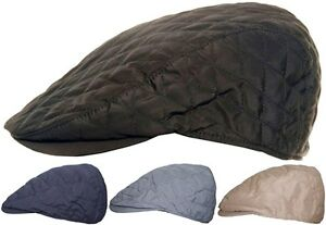 Mens Quilted Flat Cap Lightweight Summer or Winter Peaked Country Racing Hat Cap